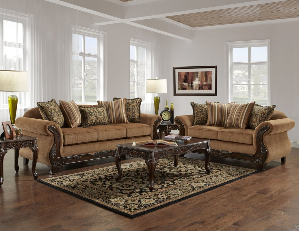 Florence Gold Sofa and Loveseat