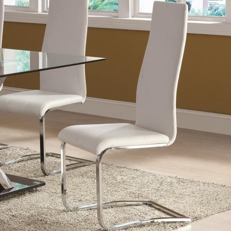 Modern Dining White Faux Leather Chair With Chrome Legs