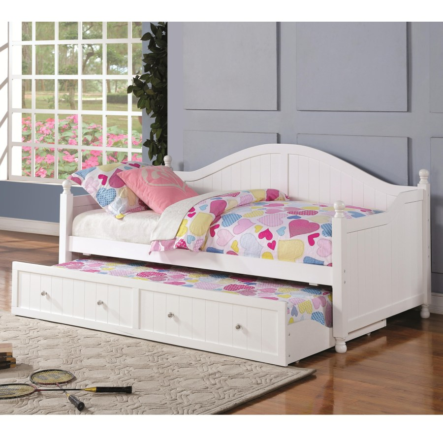 - Daybeds By Coaster White Wooden Daybed With Trundle – Omni
