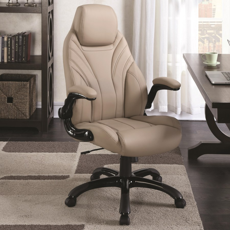 Office Chairs Tan Leatherette Office Chair Omni Furniture Gallery