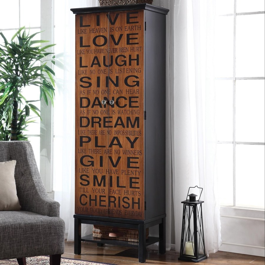 Accent Cabinets Tall Accent Cabinet With Positive Words Omni Furniture Gallery